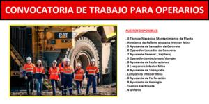 PUESTOS DE TRABAJO PARA OPERARIOS